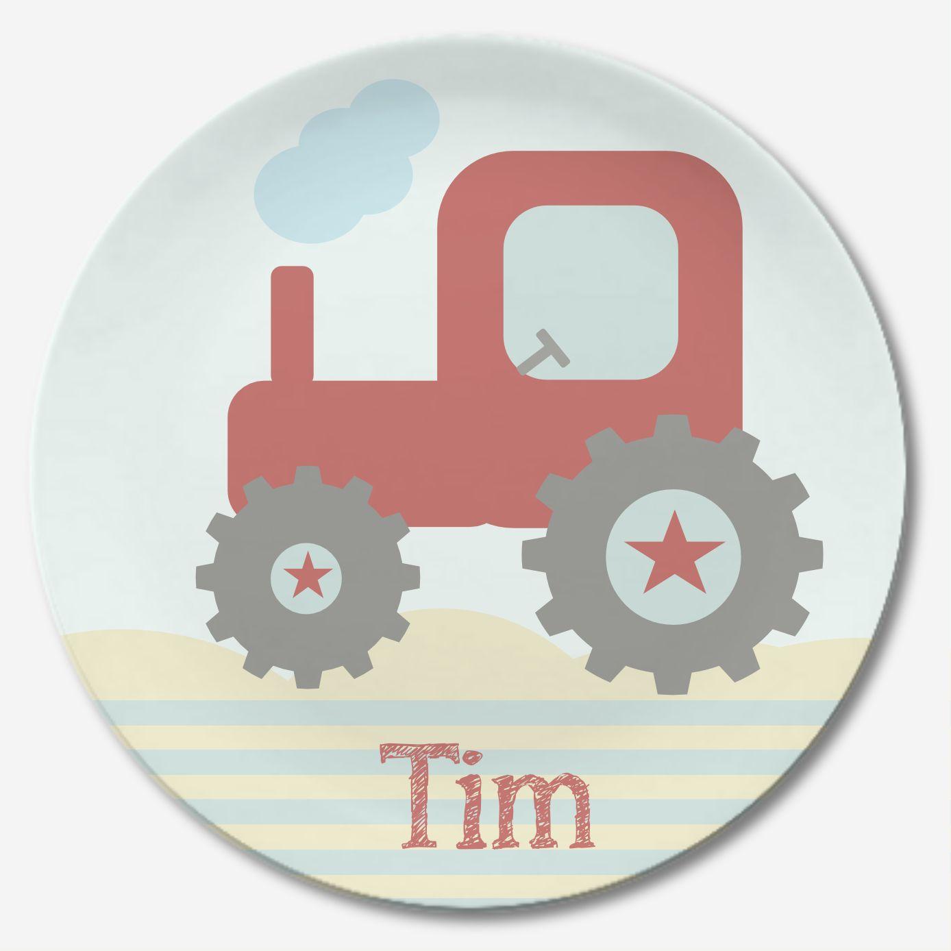 Kinderteller Mit Traktor Und Name In Rot Bedruckt Wunderschones Geschenk Zum Geburtstag Besondere Geschenke Zur Geburt Kinder Geschirr Wunderschone Geschenke