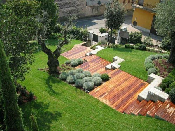 garten anlegen moderne gartengestaltung am hang | Gartengestaltung ...