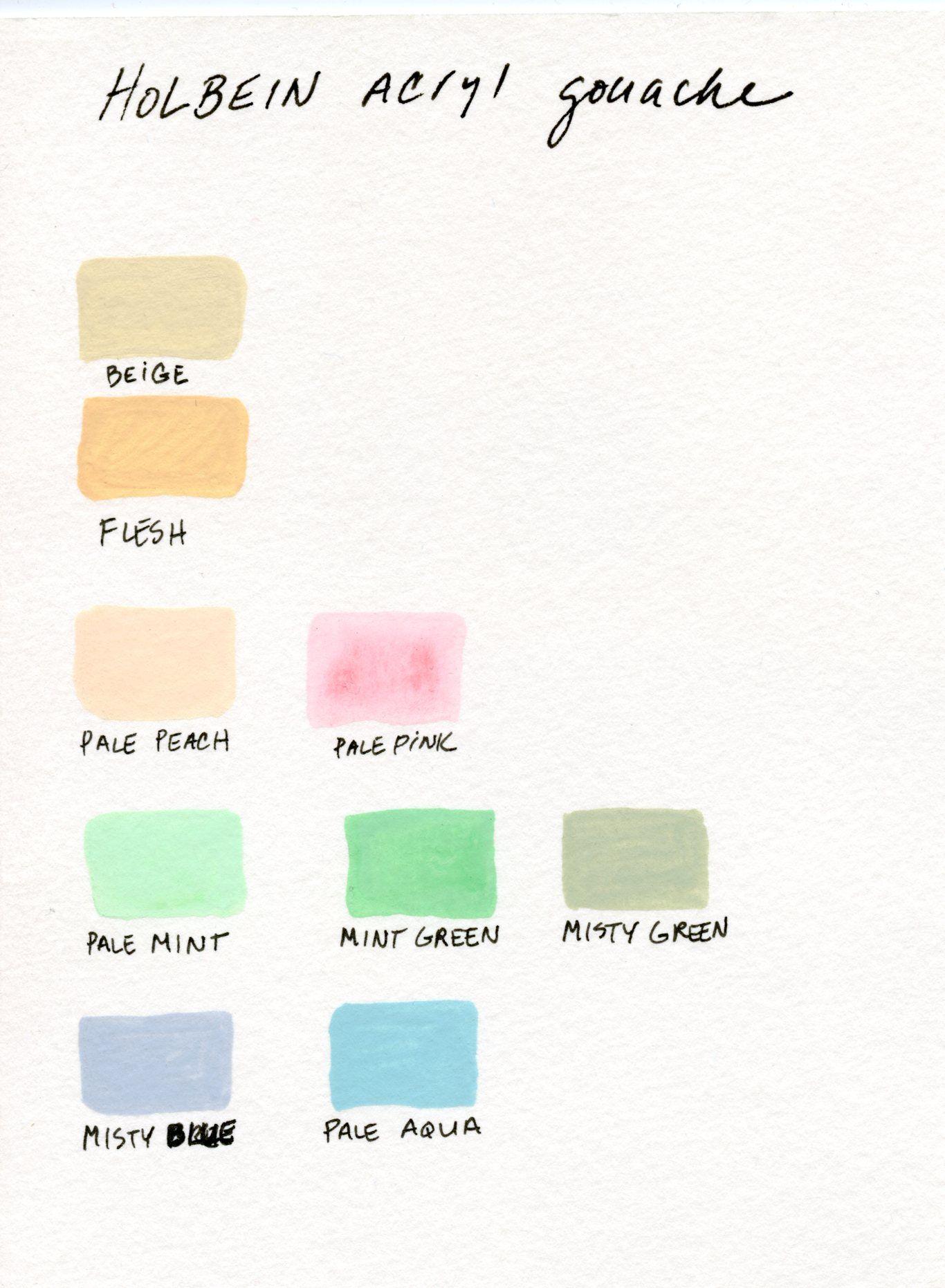 My Holbein Acryl Gouache Color Chart As A Beginner Gouache