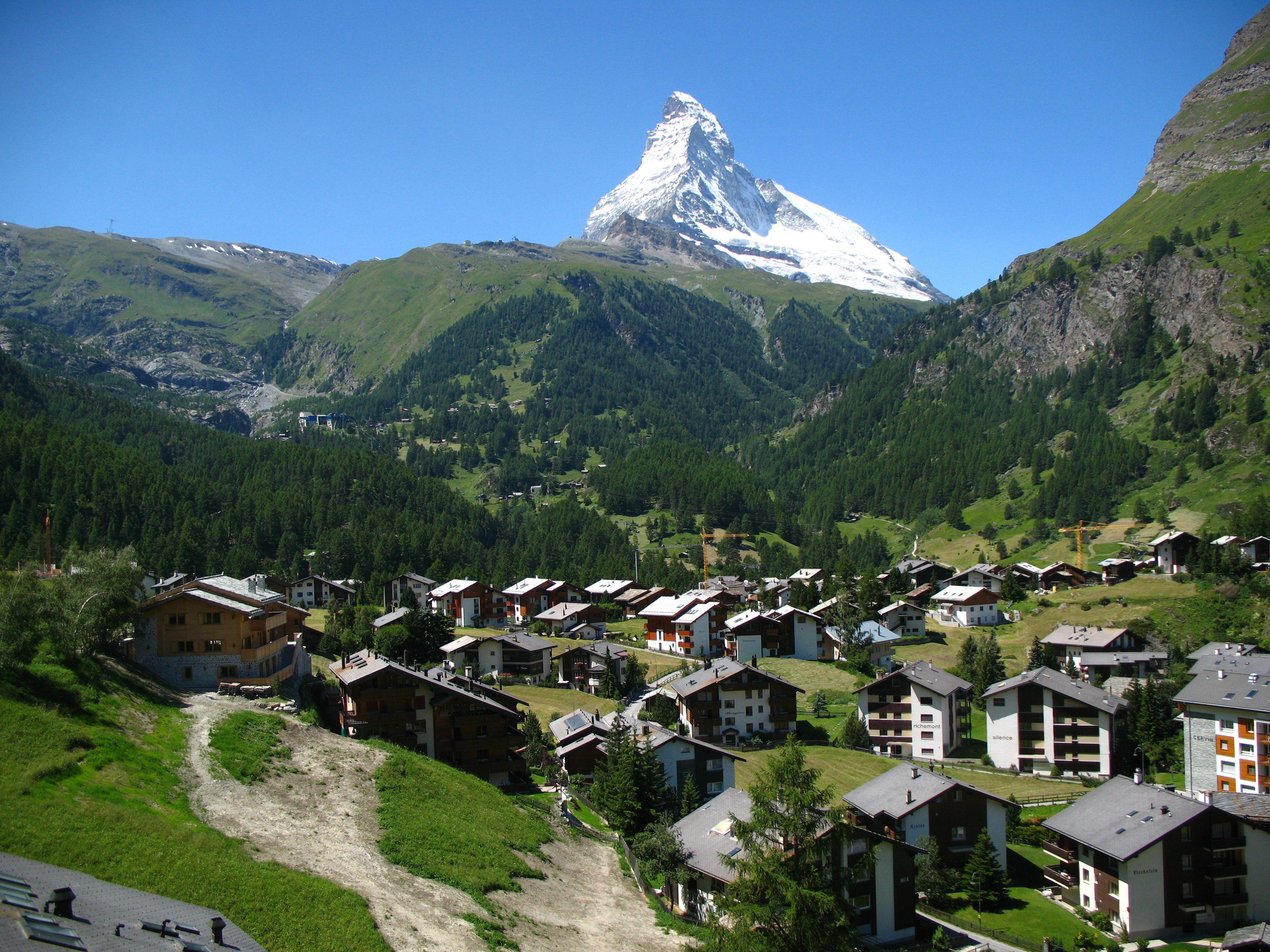 View of Matterhorn from Winkelmatten - in the German-speaking section of the canton of Valais, Switzerland