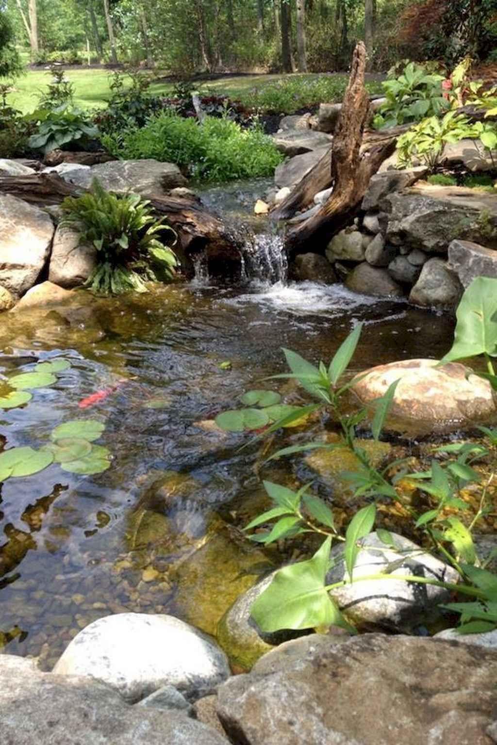 01 Beautiful Backyard Ponds and Waterfalls Garden Ideas