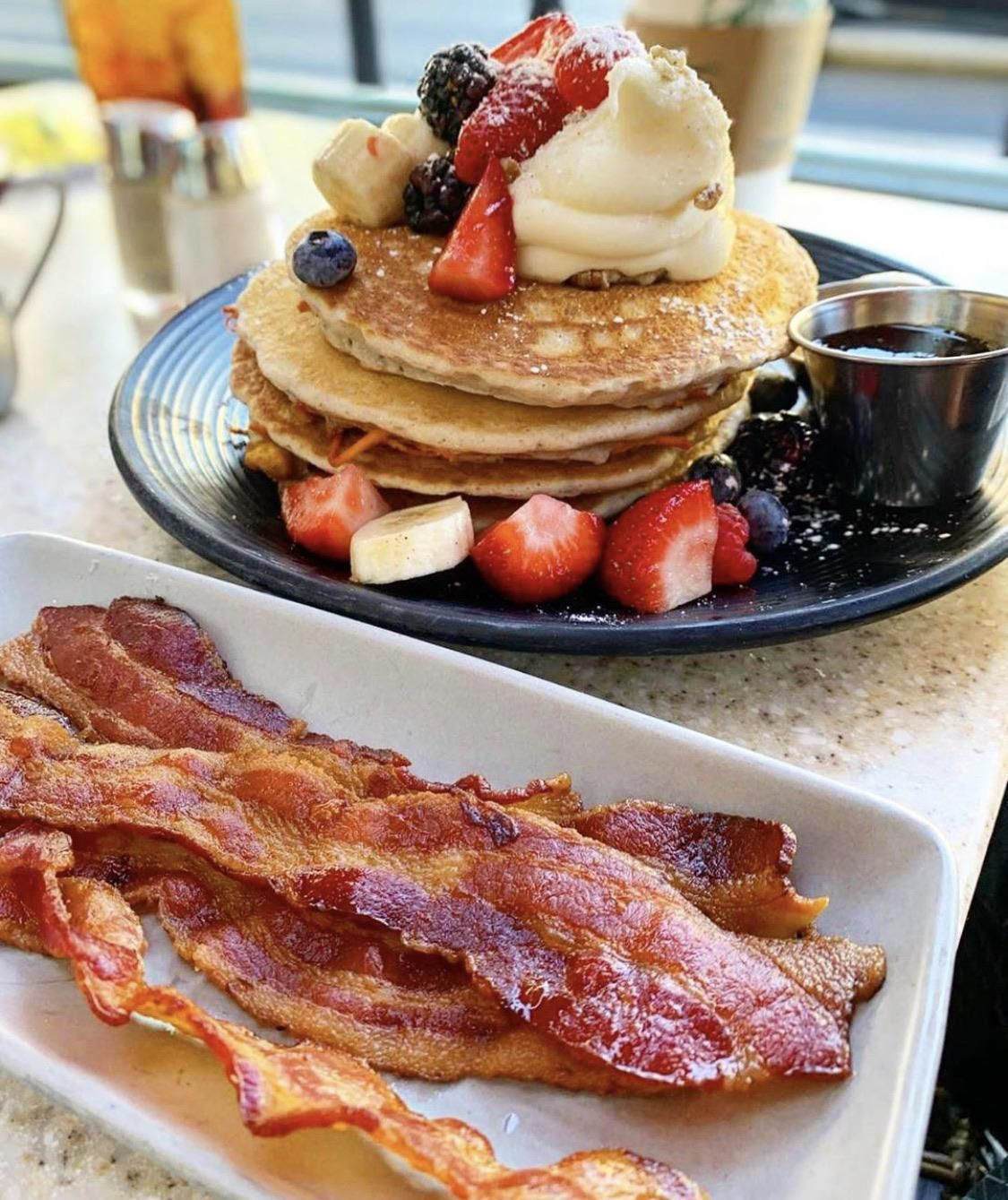 Buttermilk Pancakes And Bacon In 2020 Pancakes And Bacon Buttermilk Pancakes Food