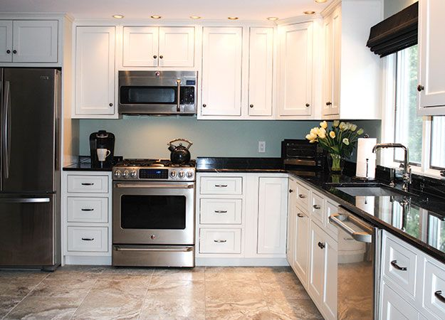 white painted beaded inset kitchen with via lactea granite | inset