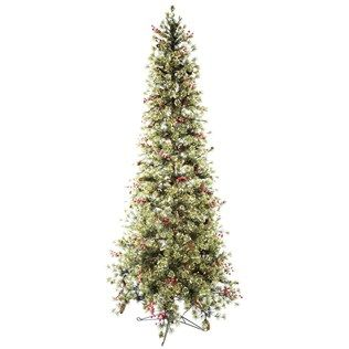 Tall And Beautiful With Interspersed Pinecones Snow Covered Needles And Red Berry Clu Flocked Christmas Trees Slim Christmas Tree Christmas Decor Inspiration