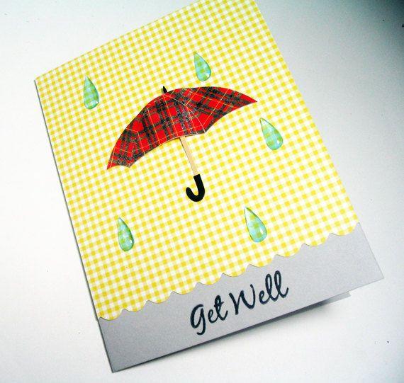 handmade get well soon card raindropsmisstandesigns on