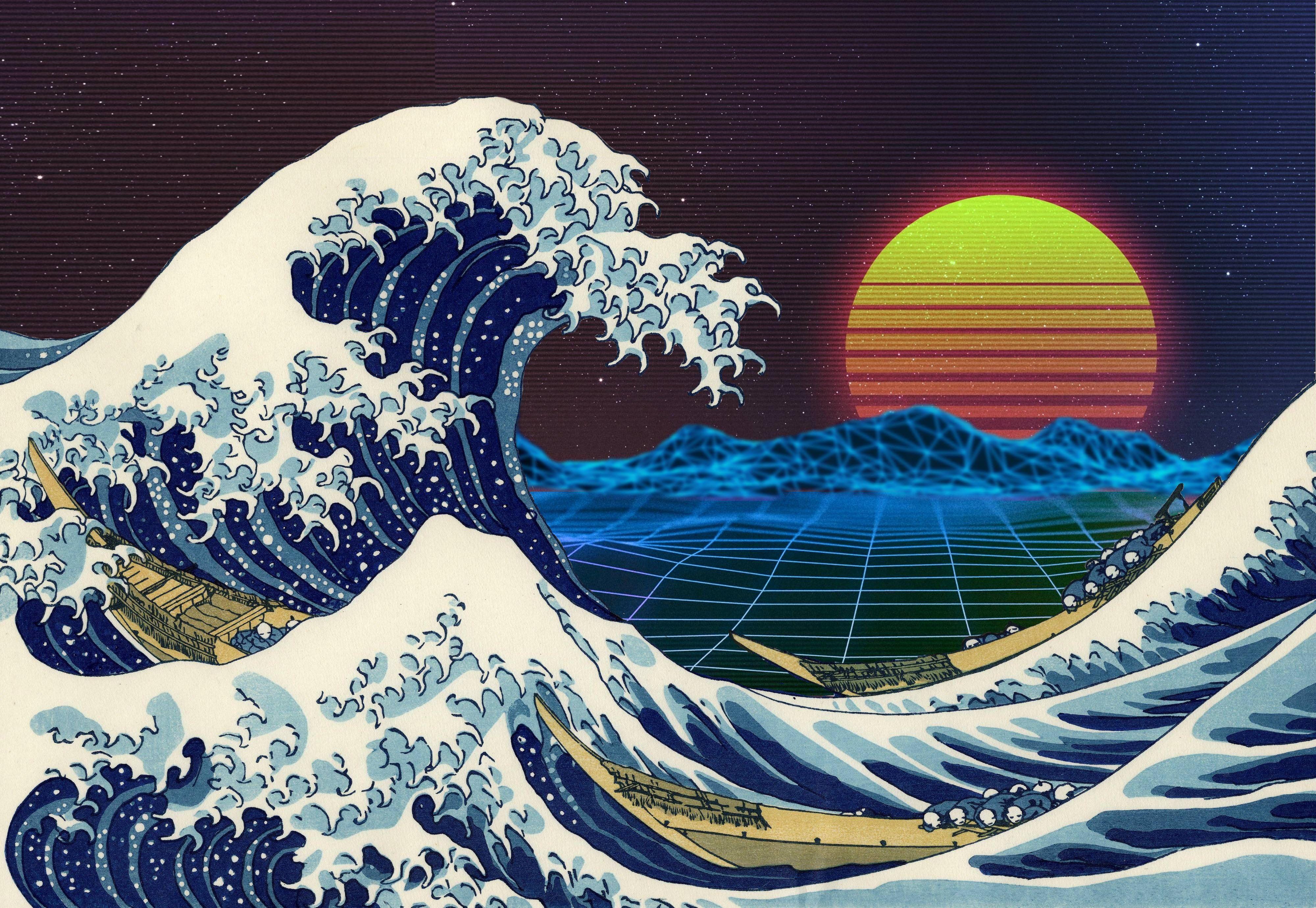 Hd Wallpaper Retrowave Retro Style Sea Waves Sunset Purple Great Wave Off Kanagawa Retrowave Wallpaper The Great Wave Off Kanagawa