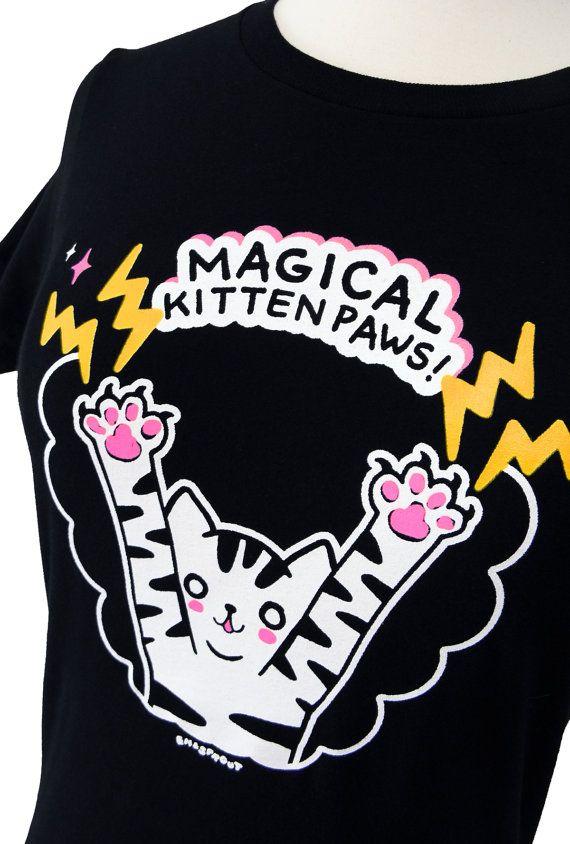 Magical Kitten Paws Print on a Lack Ladies Tshirt