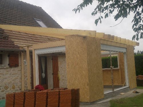 Plan charpente extension extension pinterest for Extension maison osb
