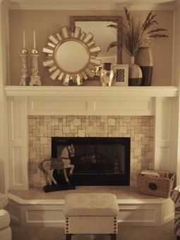 Vintage Wall Mirror Above Stone Fireplace Designs With White Mantel Piece Near Candle Handels Modern Fireplace Decor Home Fireplace Home