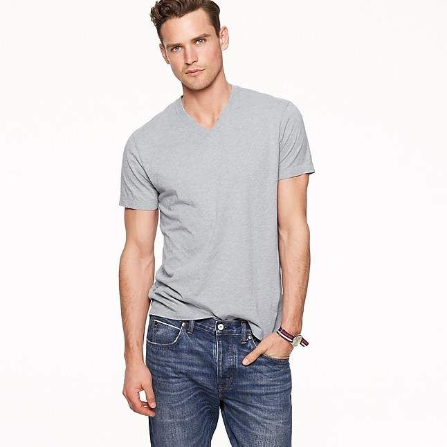 c97b3c021fa J.Crew Mercantile Broken-in V-neck T-shirt in heather grey ...