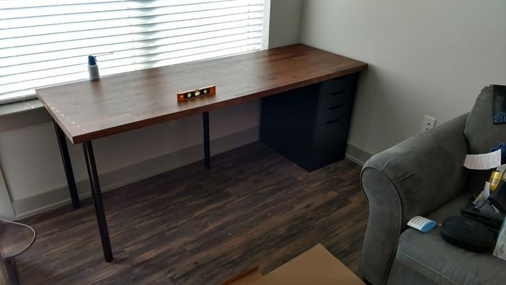 Desk In Craft Room Is 98 Ikea Karlby Countertop In Walnut Plus 3 Alex Drawer Units 2 With Drop Karlby Countertop Cheap Office Furniture Home Office Furniture
