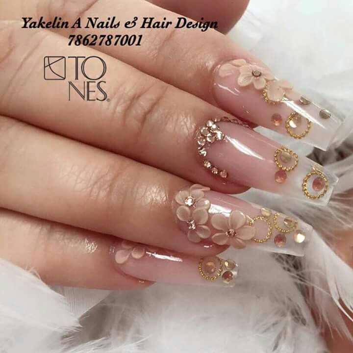 Yakelin Nails Translucidas Uñas Decoradas Transparentes