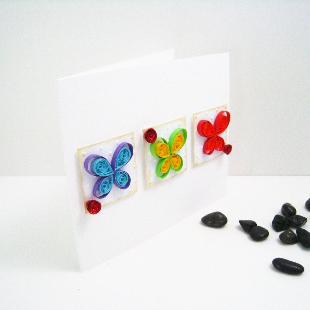Quilled Butterfly Card - Any Occasion Blank Inside. $5.00, via Etsy.