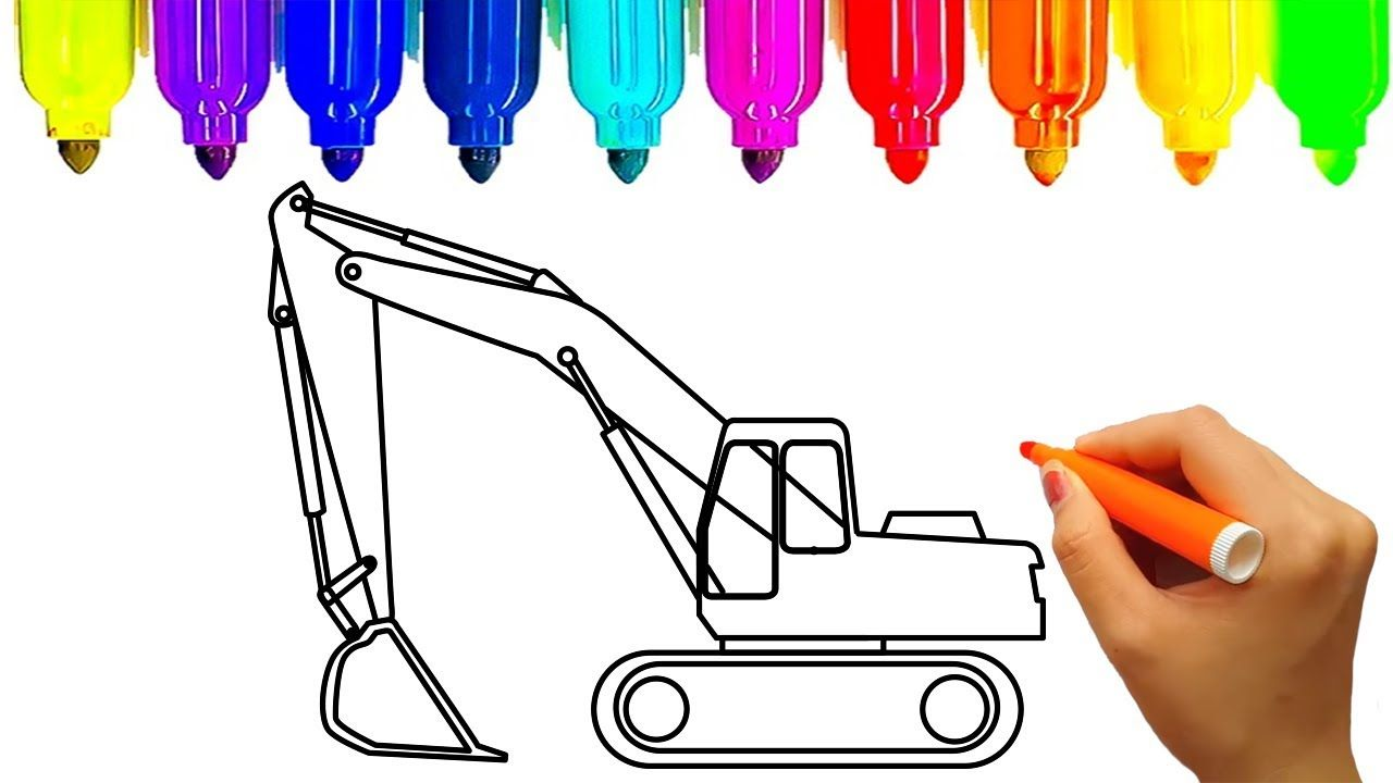 Learn colors with car and construction truck coloring book ...