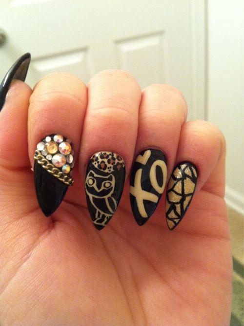 Black & Gold Stiletto Nails...