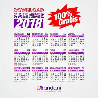 100% GRATIS Download Desain Kalender 2018 Format CDR & PDF ...