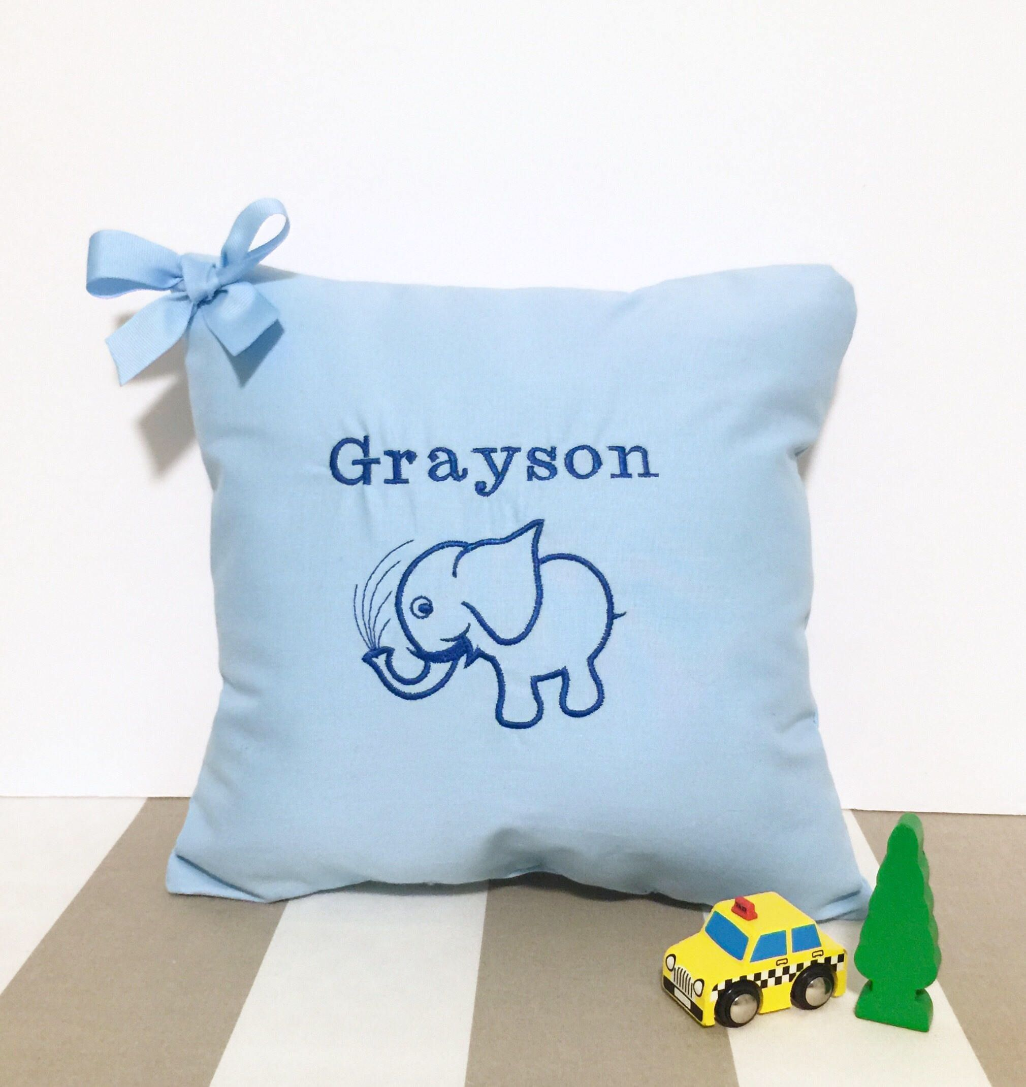 Personalized baby pillow boy elephant baby gift baby blue pillow personalized baby pillow boy elephant baby gift baby blue pillow elephant pillow elephant nursery decor boy baby gift boy negle Gallery