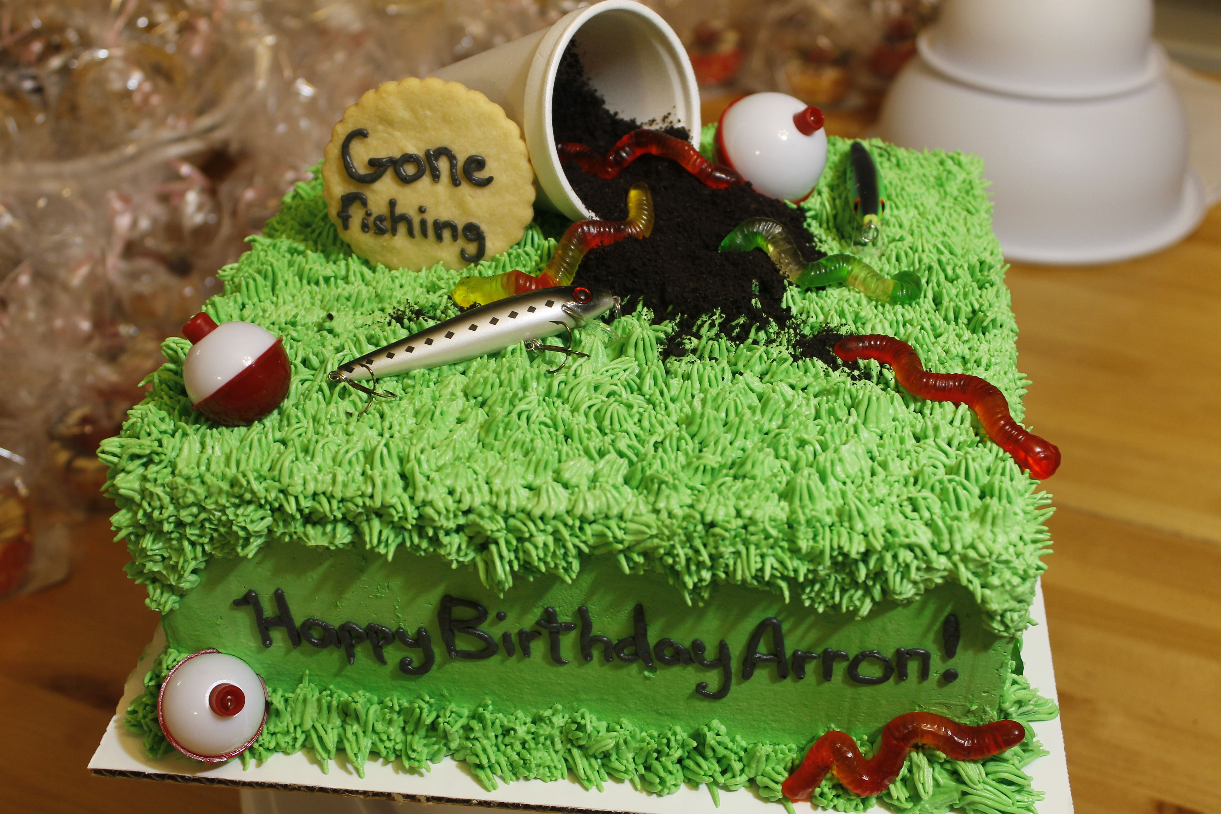 Pleasing Gone Fishing Birthday Cake For A Fishing Fan Birthday Cakes Personalised Birthday Cards Epsylily Jamesorg