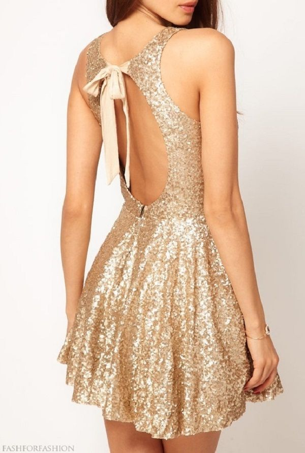 Sparkly Custom Made Sexy Short Sequin Gold Strapless Open Back ...