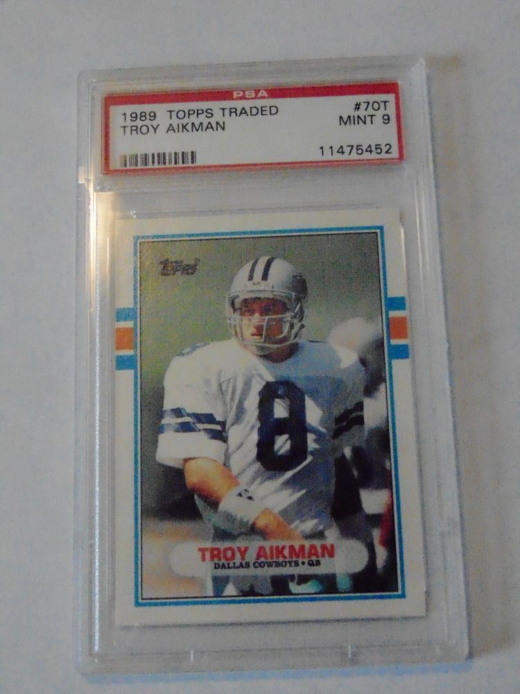 1989 topps traded troy aikman 70t rc card graded mint 9