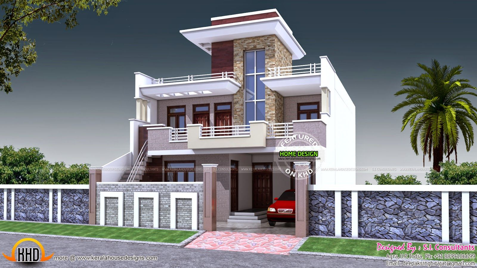 30x60 house plan india kerala home design and floor for Home front design photo