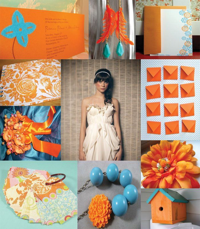 Wedding Inspiration Teal And Orange Inventing Weddings Etsy Handmade June Bride