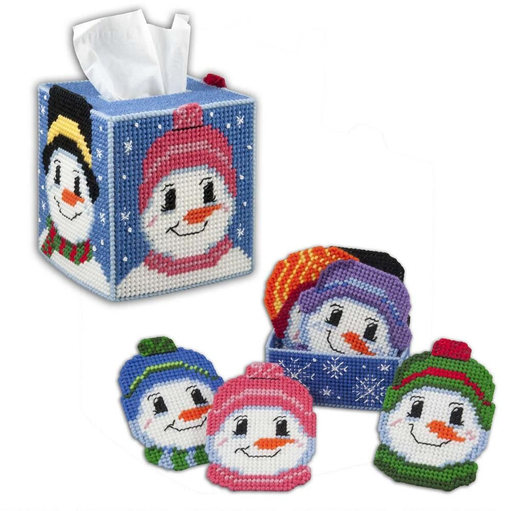 Herrschners® Frosty Snowmen Tissue Box & Coasters With Holder ...