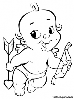 Free Printable Smiling Cupid With Heart Valentines Day Fargelegge Tegninger Coloring Page Print Out In Sheet For Kids