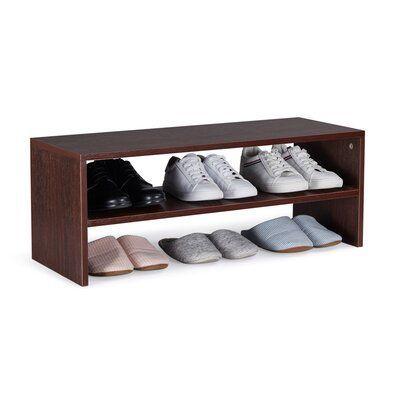 Ebern Designs 2 Tier Wood 9 Pair Stackable Shoe Rack Finish: Dark Walnut#dark #designs #ebern #finish #pair #rack #shoe #stackable #tier #walnut #wood