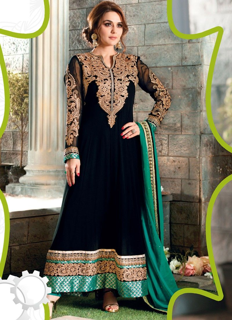 Preity Zinta Black Colour And Georgette Designer Suit | Indian ...