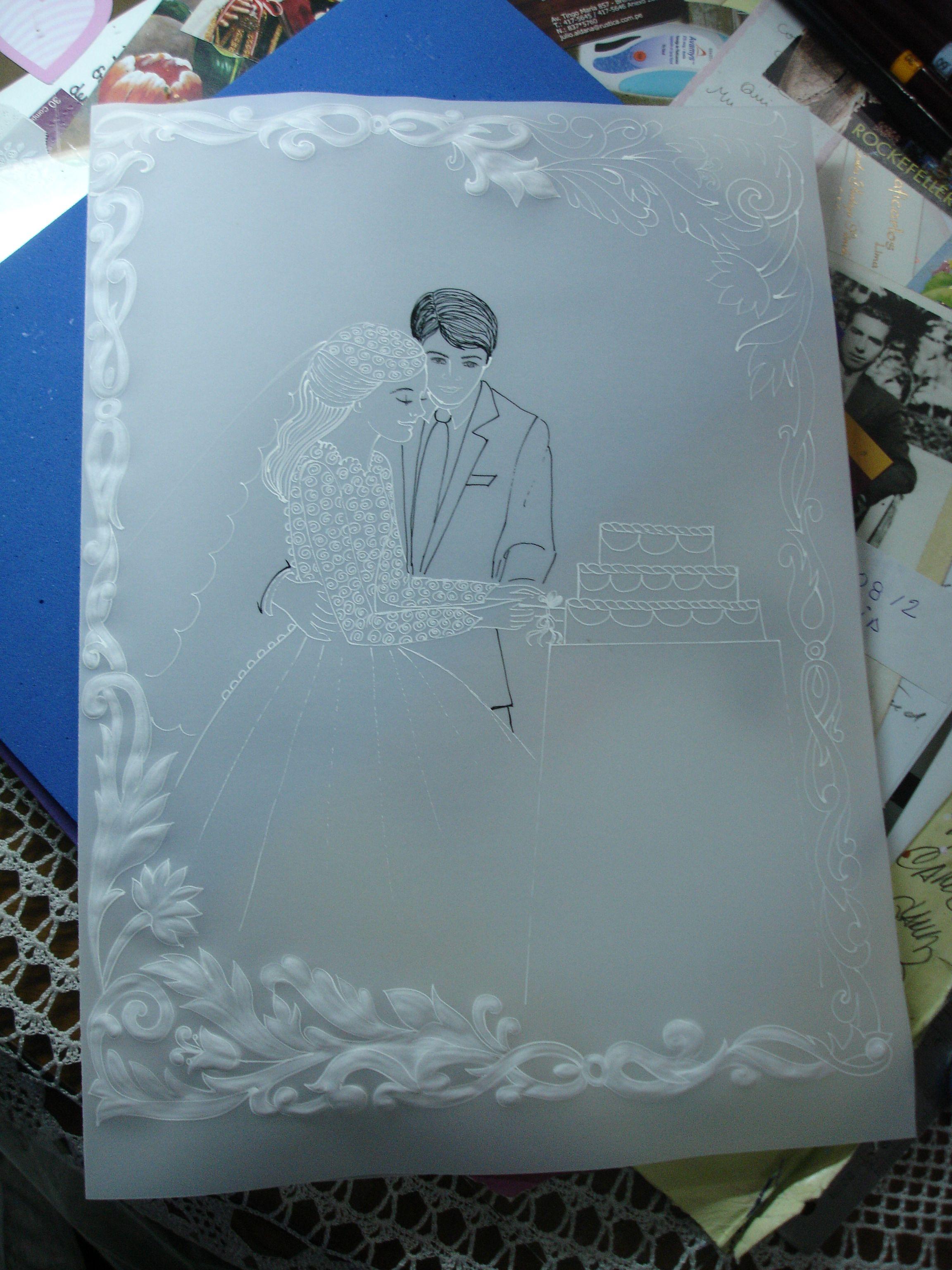 calcar el molde del marco y el dibujo central | MI BODA | Pinterest ...