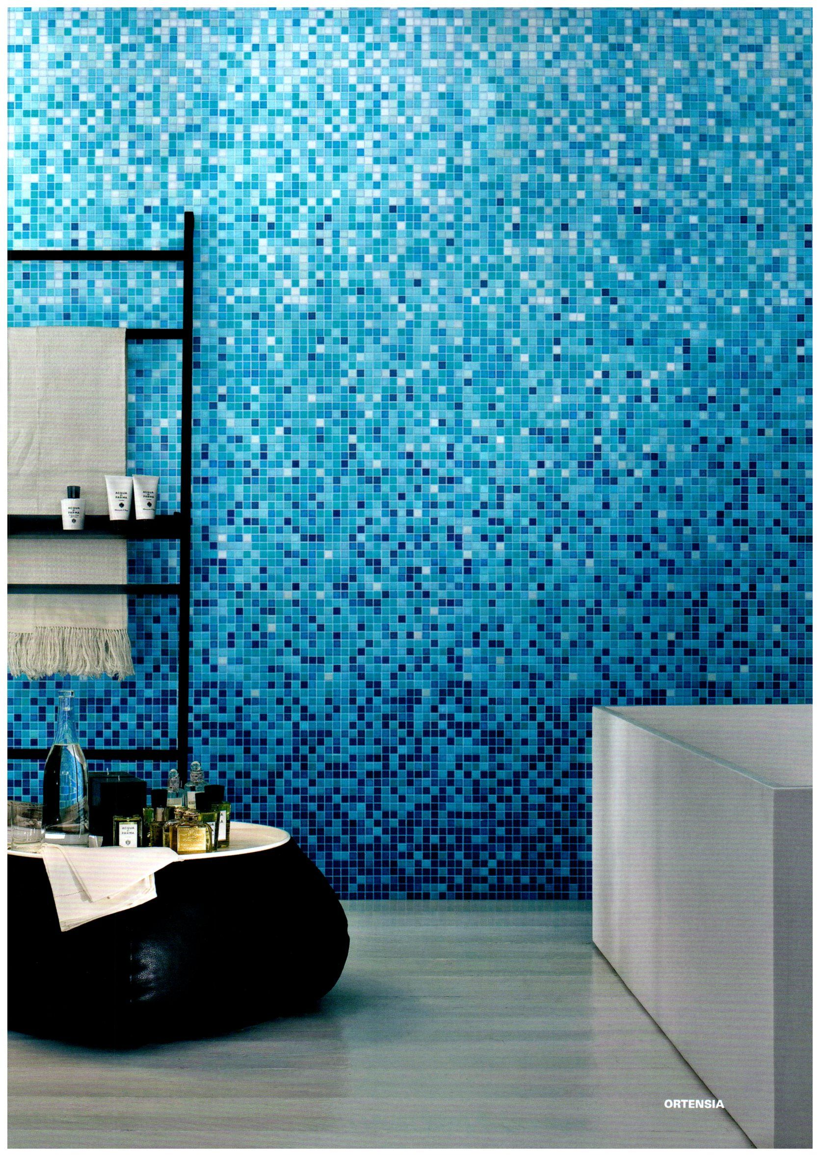 Bisazza Ortensia Blue Mosaic Tile Bathroom Wall Designs