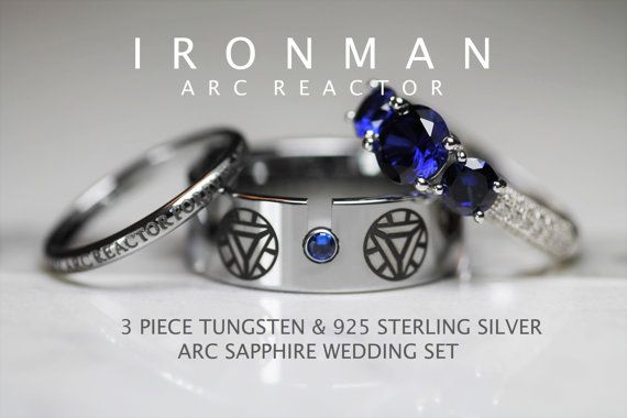 IRON MAN Tungsten and 925 Sterling Silver 3.33 Carat CZ Wedding Ring ...