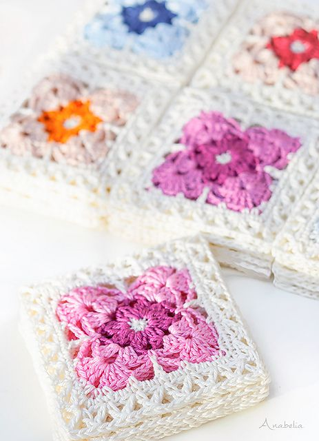 Square Motif 1 pattern by Anabelia Handmade #crochetmotif