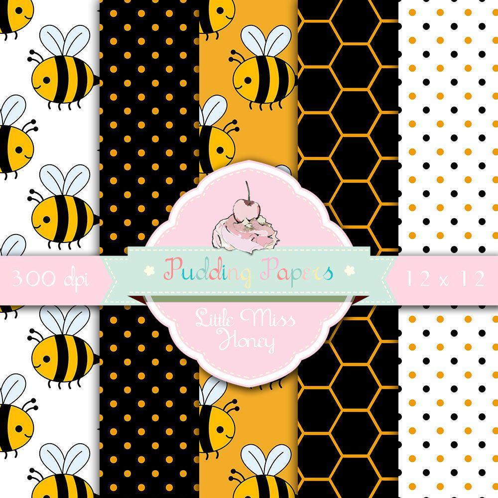 Scrapbook paper etsy - Little Miss Honey Instant Download Digital Paper Scrapbook Paper Bumble Bee