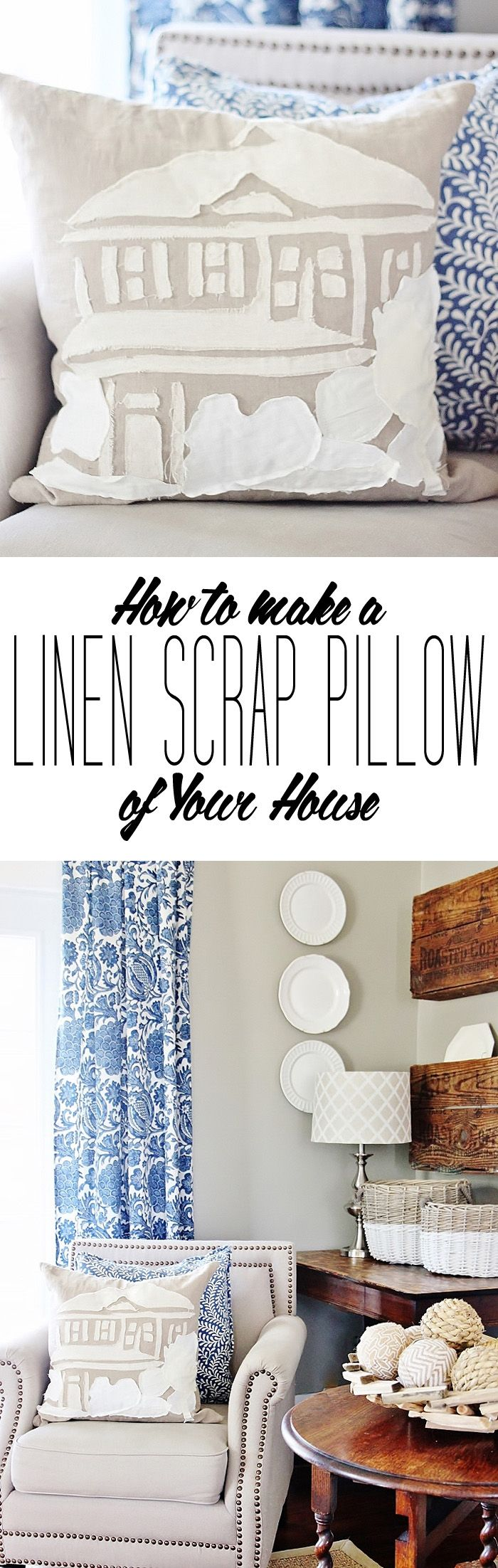How To Make a Linen Scrap Pillow of Your House