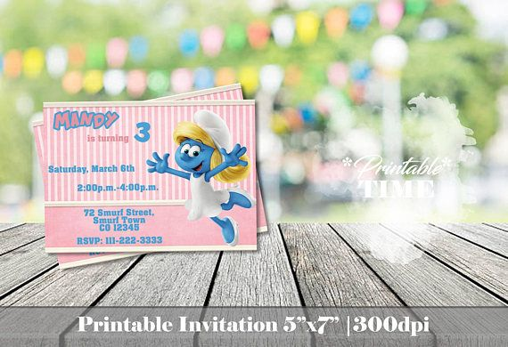 Smurfette invitation Smurfs invitation Girl smurf invitation