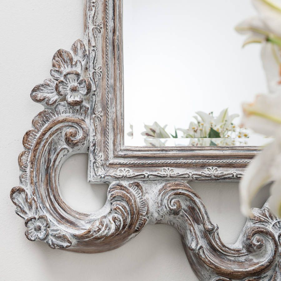 Large White Wash Carved Wood Effect Mirror Wooden Mirror Frame Mirror Large White Mirror