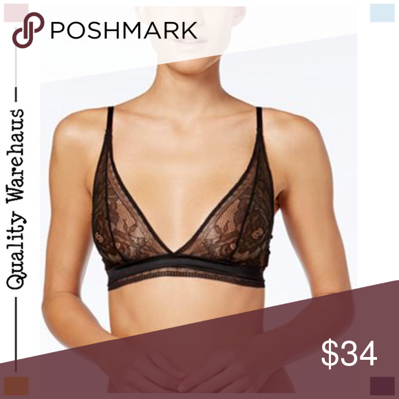 94c04a7fc0 CALVIN KLEIN Unlined Triangle Wirefree Bra Black S Calvin Klein bra  featuring an unlined construction
