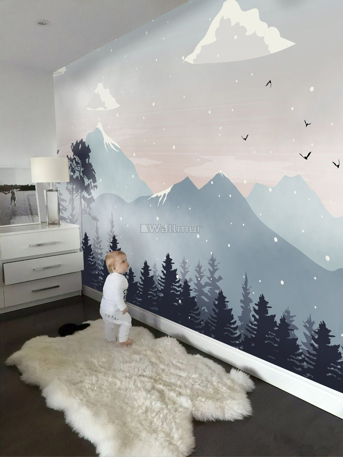 Photo of Kids Mountain Landscape with Snow Wallpaper Mural #kidsrooms Kids Mountain Lands…