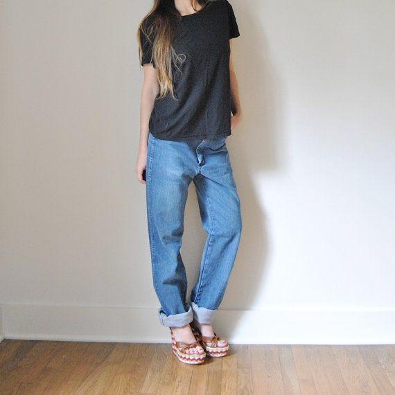 boho boyfriend jeans | Slouchy WRANGLER Boyfriend Jeans // High Waisted Faded Denim Jeans ...