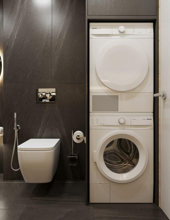 Idee bagno moderno piccolo con zona lavanderia da incasso in un mobile di legno colore nero for Idee bagno moderno