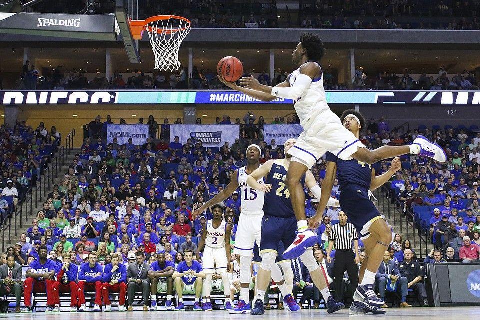 Kansas Jayhawk Josh Jackson flies to the basket 3/17/17 St