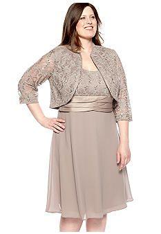 RM Richards Plus Size Sequin and Lace Jacket Dress - Belk.com   Plus ...
