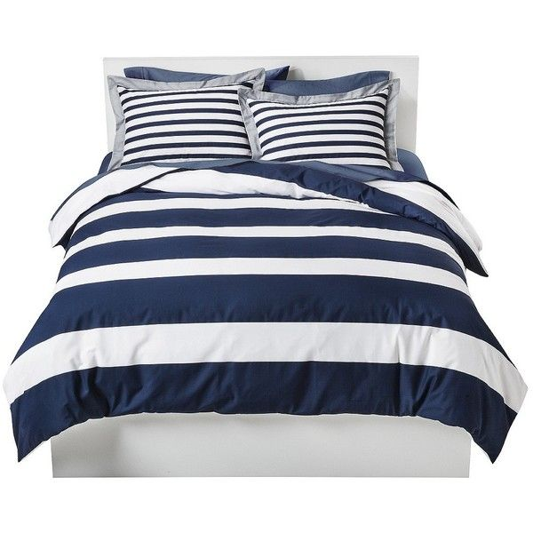 Room Essentials Rugby Stripe Duvet Cover Navy 30 Liked On Polyvore Featuring Home Bed Bath Bedding Blue Bedding Sets Luxury Bedding Sets Unique Beds