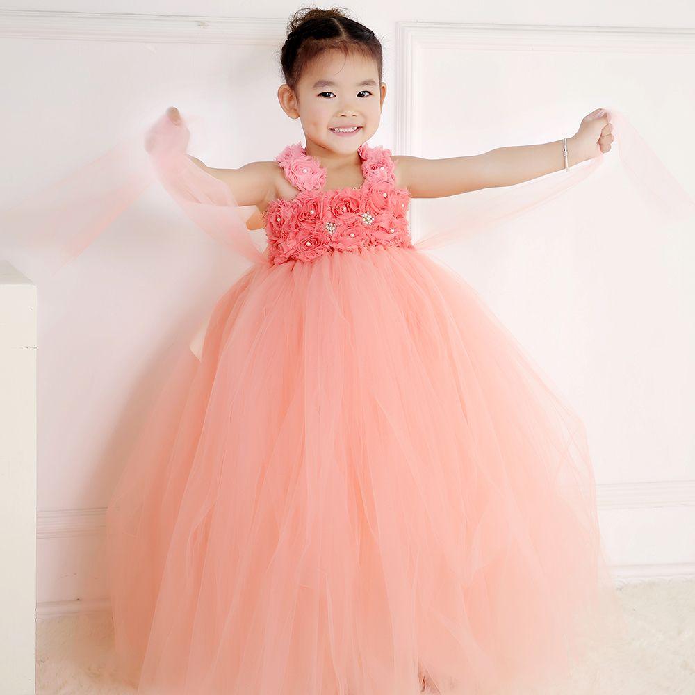 100% Real Photo enfants filles Peach robe pour parti princesse fleur ...