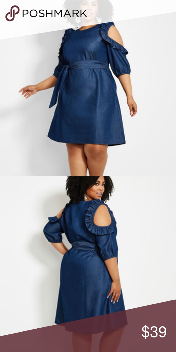 641b5b8e RUFFLE COLD SHOULDER DENIM DRESS Color Denim Embrace the warm-weather in  style whenever you