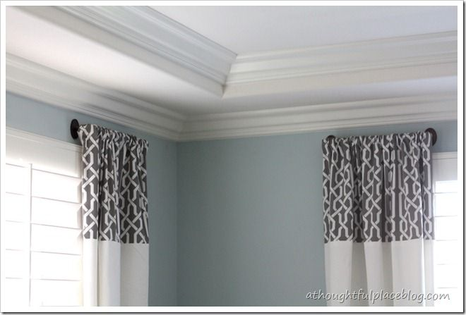 Love the color wall - BM Smoke - Master Bedroom Update: DIY Drapes ...