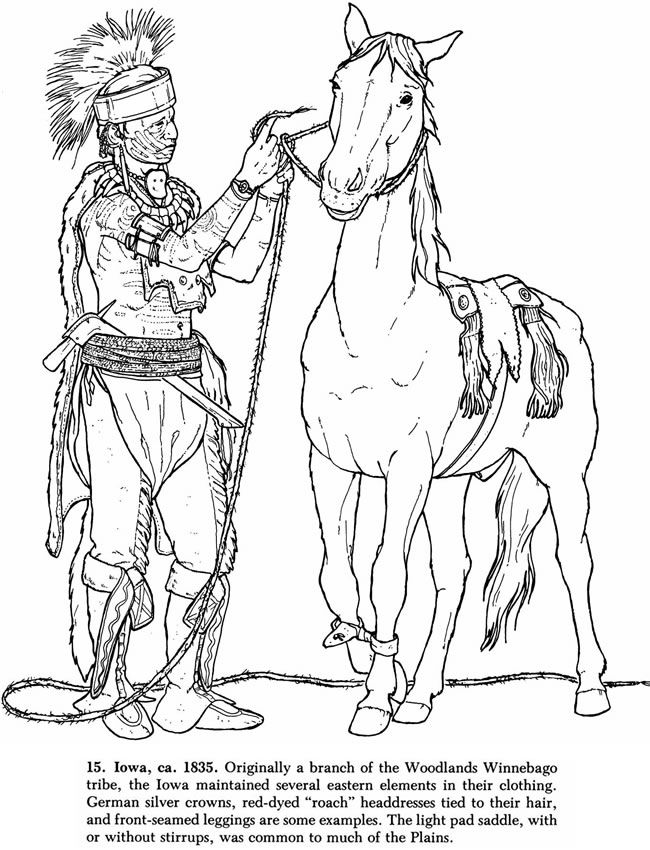 coloring pages native american dover publ horse coloring page of a native american winnebago - Native American Coloring Pages