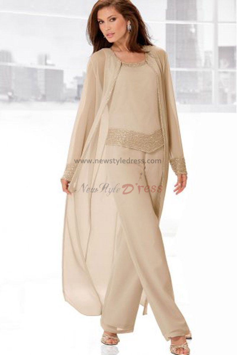 Pant dresses weddings  flesh pink Three Piece mother of the bride pants set with long coat